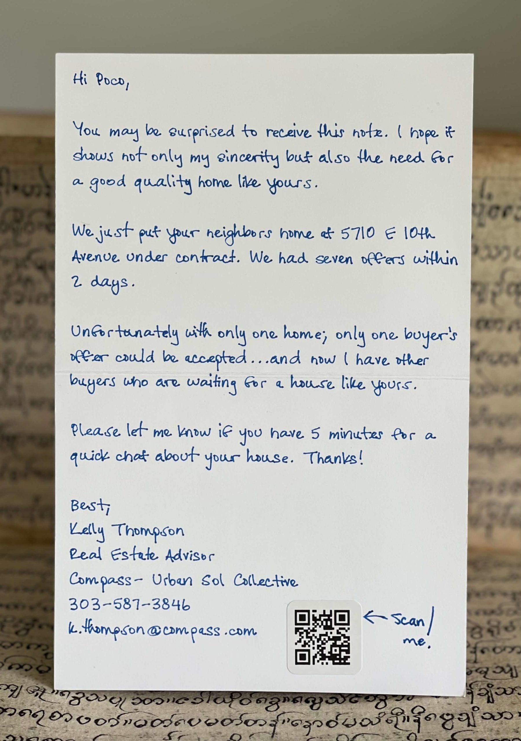 Audience Handwritten Notes Sample