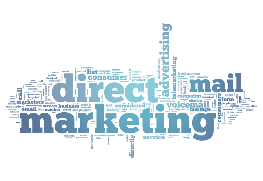 keyword cloud centered on direct mail marketing