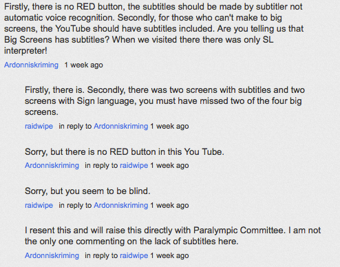 Paralympics YouTube video comments