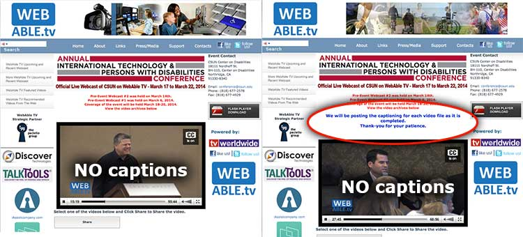 "Two screenshots of inaccessible WebAble TV videos of ""accessibility"" talks."