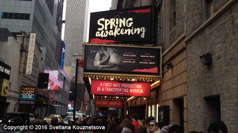 Theater entrance for Spring Awakening play