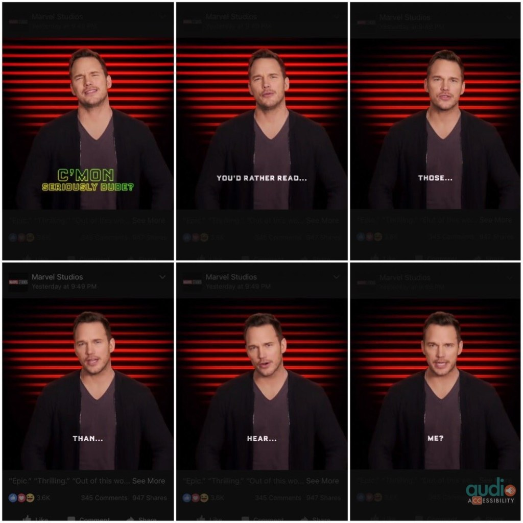 """6 frames with captions of Chris Pratt saying: """"C'mon seriously dude. You'd rather read those than hear me?"""""""