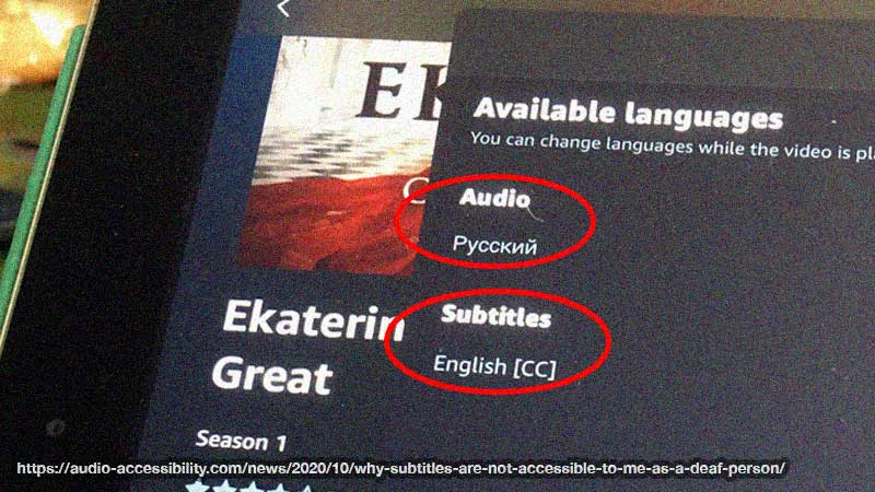 An Amazon Prime page for the Ekaterina TV series. It shows available languages - audio in Russian and subtitles in English.