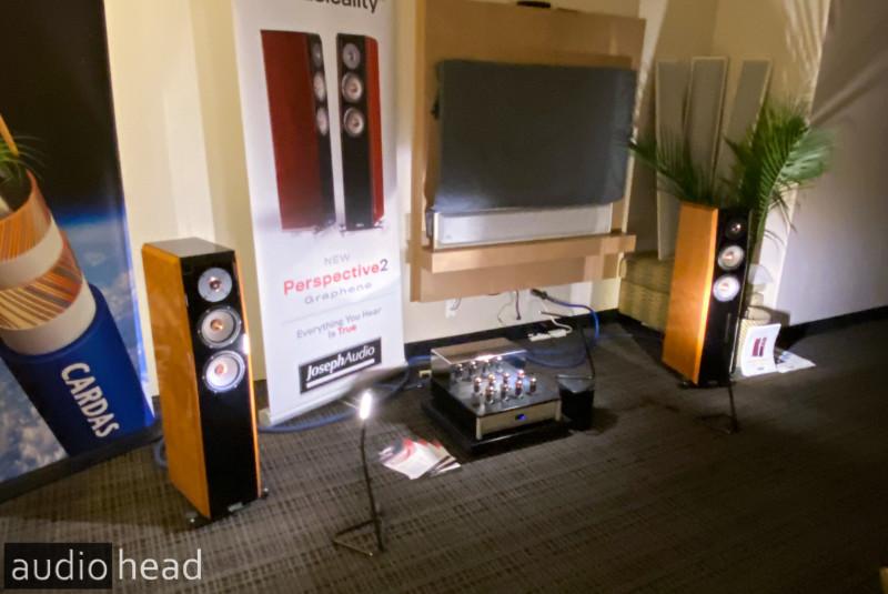 Joseph Audio, Doshi Audio, Berkeley Audio Design, Cardas Audio from FLAX 2020. The Joseph Audio Perspective2 Graphene tower speakers.