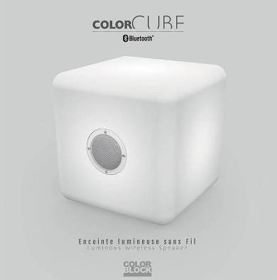 Draadloze Bluetooth Speaker - Cube Wit Big Led