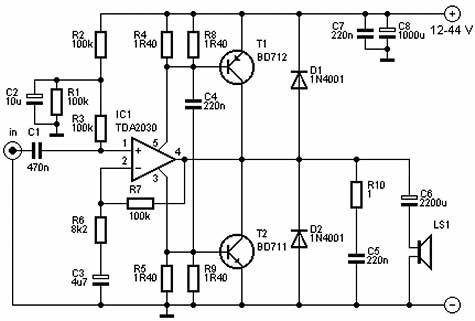 TDA2030 con due transistor : quanta potenza eroga?