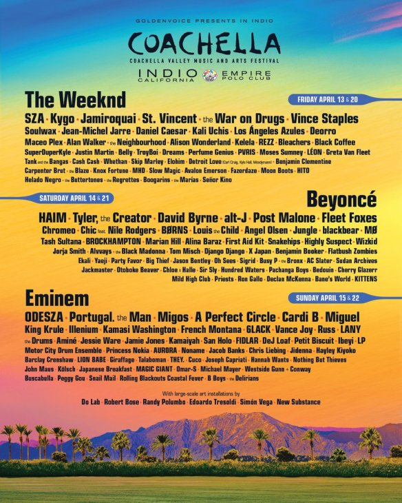 coachella 2018, beyonce, the weeknd, eminem, coachella