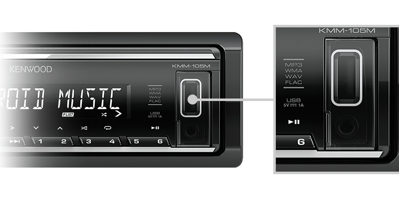 KENWOOD USB AUX RADIO KMM105M 5