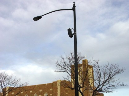 This outdoor sound system uses multiple Bose model 402-II loudspeakers mounted to light poles to provide year round music to (3) downtown city blocks. It is installed in Casper, Wyoming as part of a Downtown Development Authority project. The speakers are completely environmentally rated and function in all elements of weather.