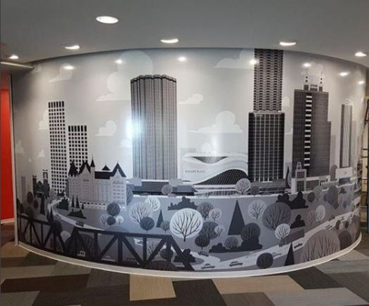 Edmonton Skyline Mural at Edmonton Economic Development Edmonton International Airport © Jason Blower Acrylic on panel Used with permission.