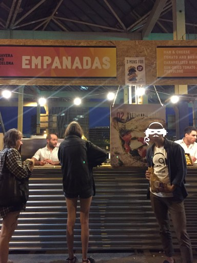 El Mascarado proudly supporting Primavera's delicious empanadas stand.