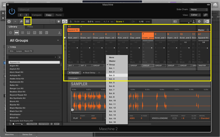 Maschine - Click on Settings and choose channels for separate tracks from EXT 1 to 16