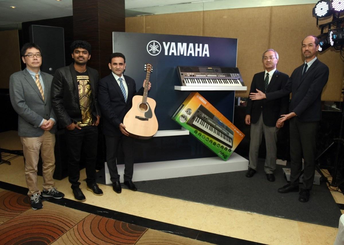 Yamaha representatives (L-R) Hisayoshi Matsui, Karthick Devraj, Rehan Siddiqui, Takashi Haga and Masayuki Imanishi during the launch.
