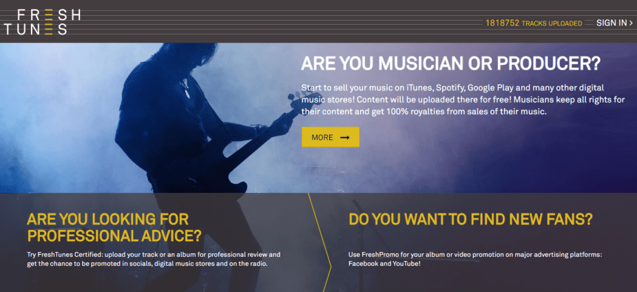 Freshtunes will help you in distributing music for free to all leading music streaming stores.