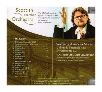Contraportada disco Colloredo Serenade K.203 & Divertimento K.251