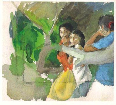 pinturas en portada y contraportada de la hermana del artista, Mercedes Gaspar