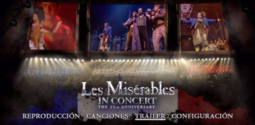 """Pantalla del menú del DVD """"Les Miserábles in Concert"""": El musical"""