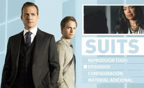 """Menú en disco """"SUITS"""" Temporada 1 en DVD"""
