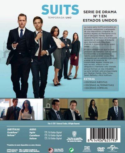"""Contraportada del estuche """"SUITS"""" Temporada 1 en DVD"""