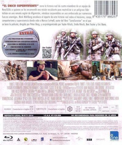 El único superviviente (2013) contraportada del Blu-Ray