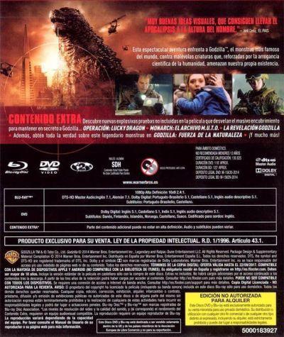 Godzilla (versión 2014) portada trasera del BD