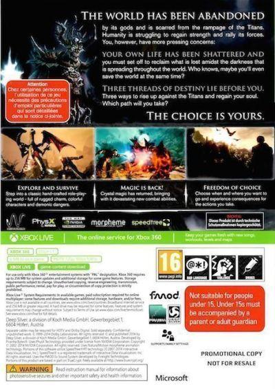 Risen 3: Titan Lords (carátula trasera Xbox 360)