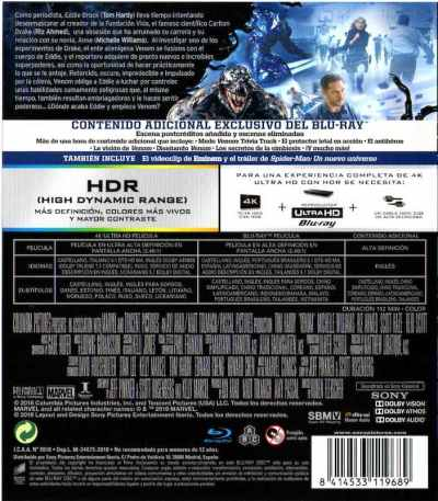 VENOM (2018) Analizamos el Blu-Ray 4K en AudioVideoHD.com
