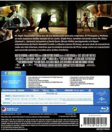 Glass (Cristal - 2019) Carátula trasera del Blu-Ray