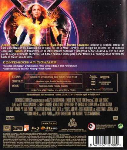 X-Men: Fénix oscura. Blu-Ray contraportada
