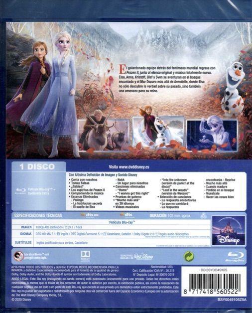 Frozen II. Contraportada del Blu-Ray