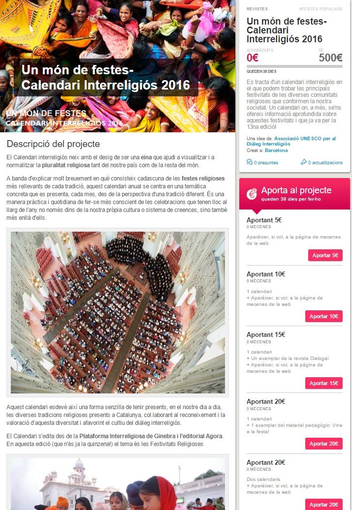 Micromecenatge Calendari Interreligiós 2016