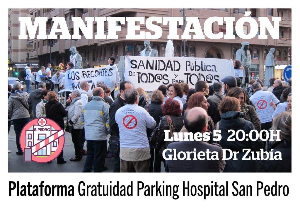 Manifestación Por La Gratuidad Del Párking Público Del Hospital San Pedro