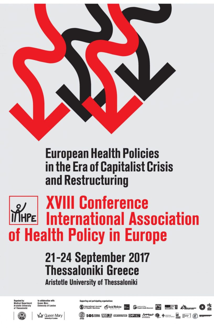 XVIII Conference Of The International Association Of Health Policy In Europe – 21-24 September 2017, Thessaloniki – Greece