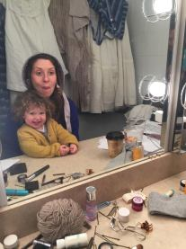 Miriam Silverman, actor, and Stella age 3, Yale Repertory Theater.