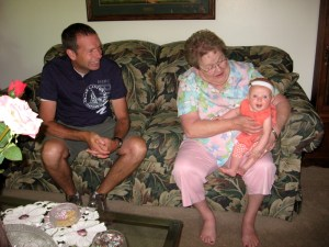 Ellen with Great Grandma McConkie and Grandpa Wayne.