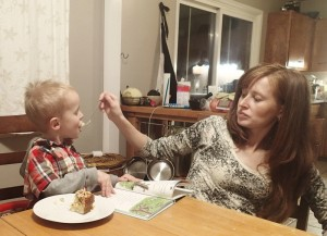 Cooper insisting he be fed like a baby.