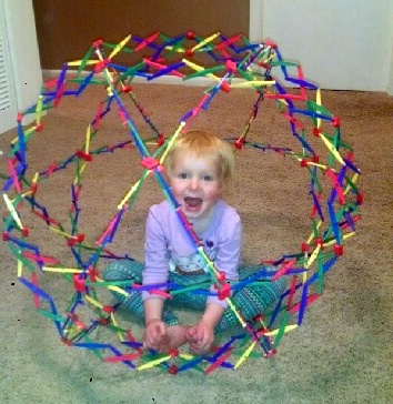 Ellen in the Hoberman sphere.