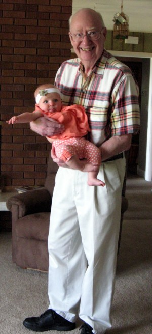 Holding Ellen when she was a few months old.