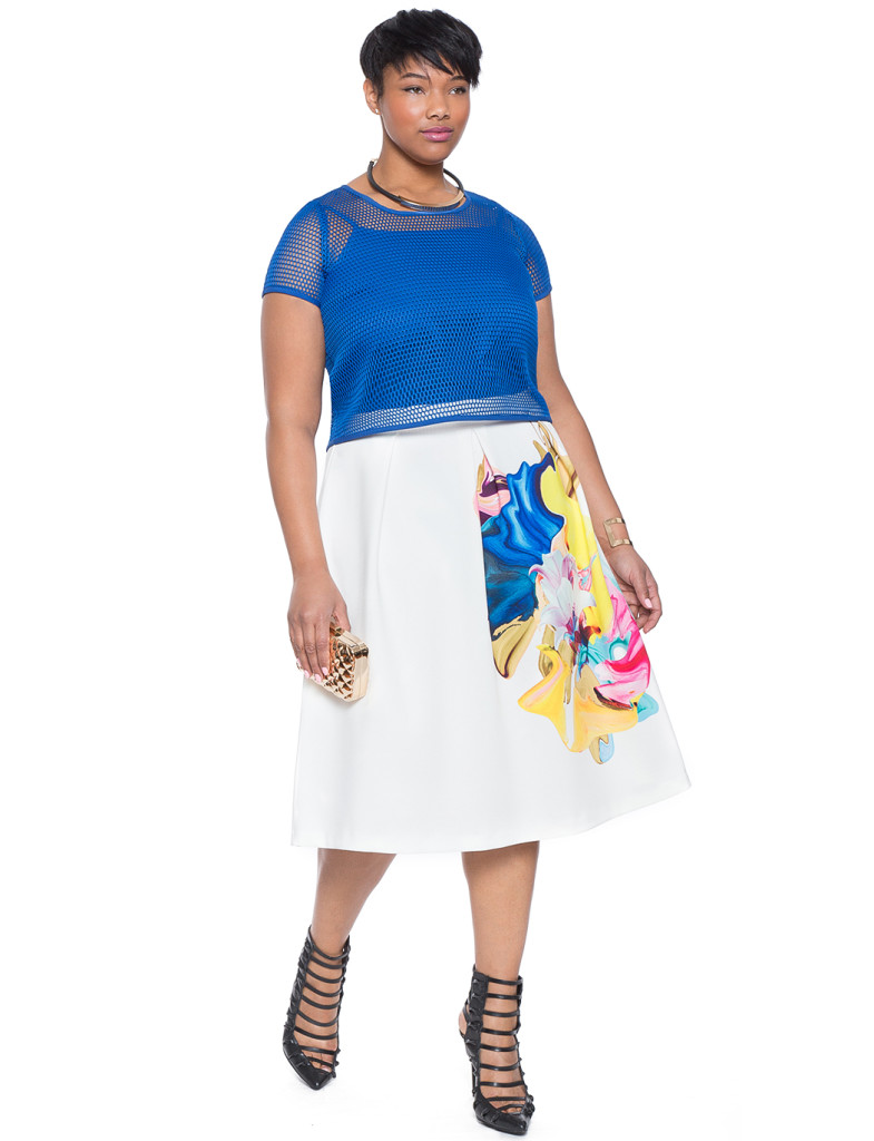 Eloquii Placed Print Cocktail Skirt Outfit