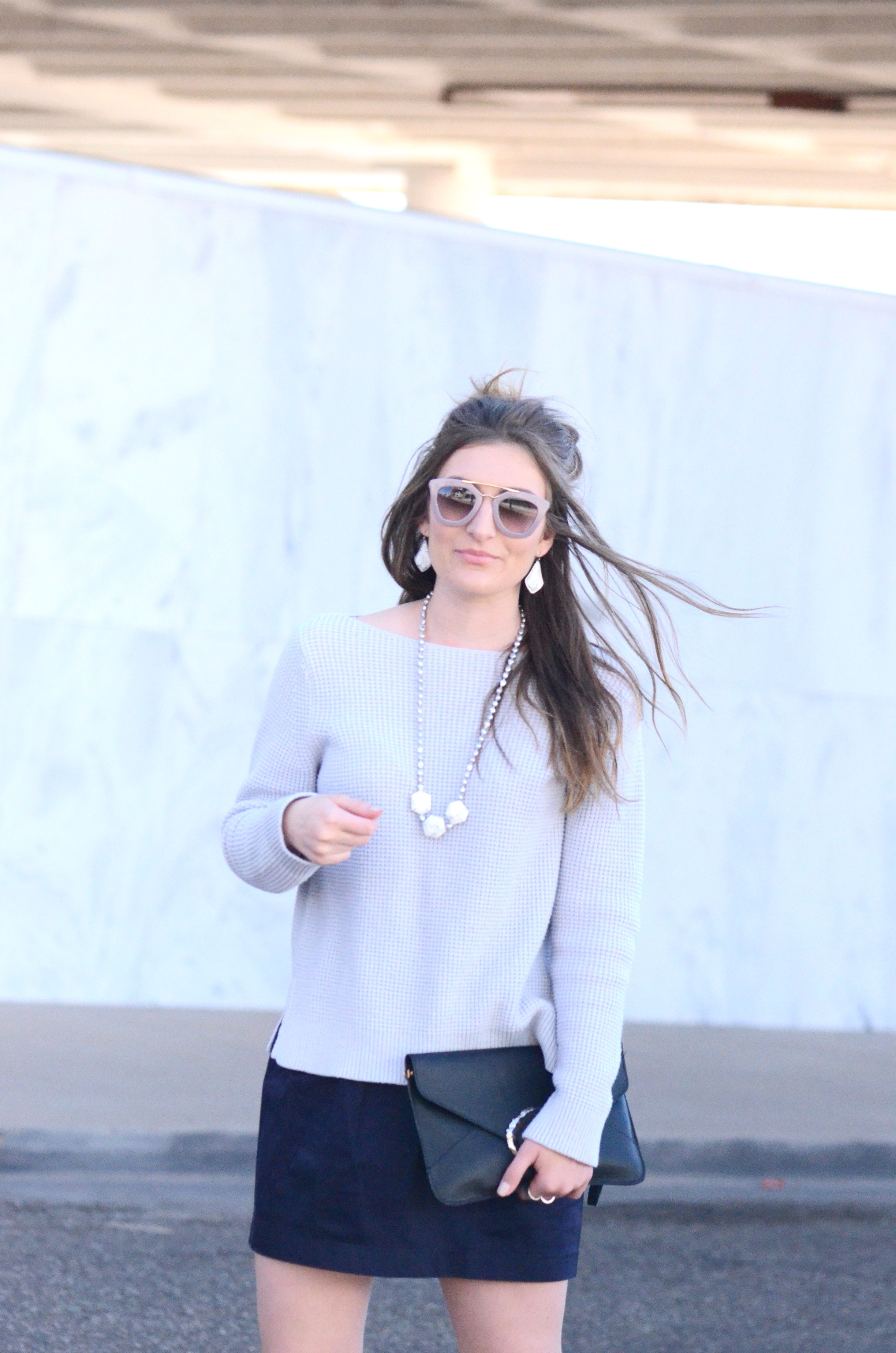 top knot blue hued outfit