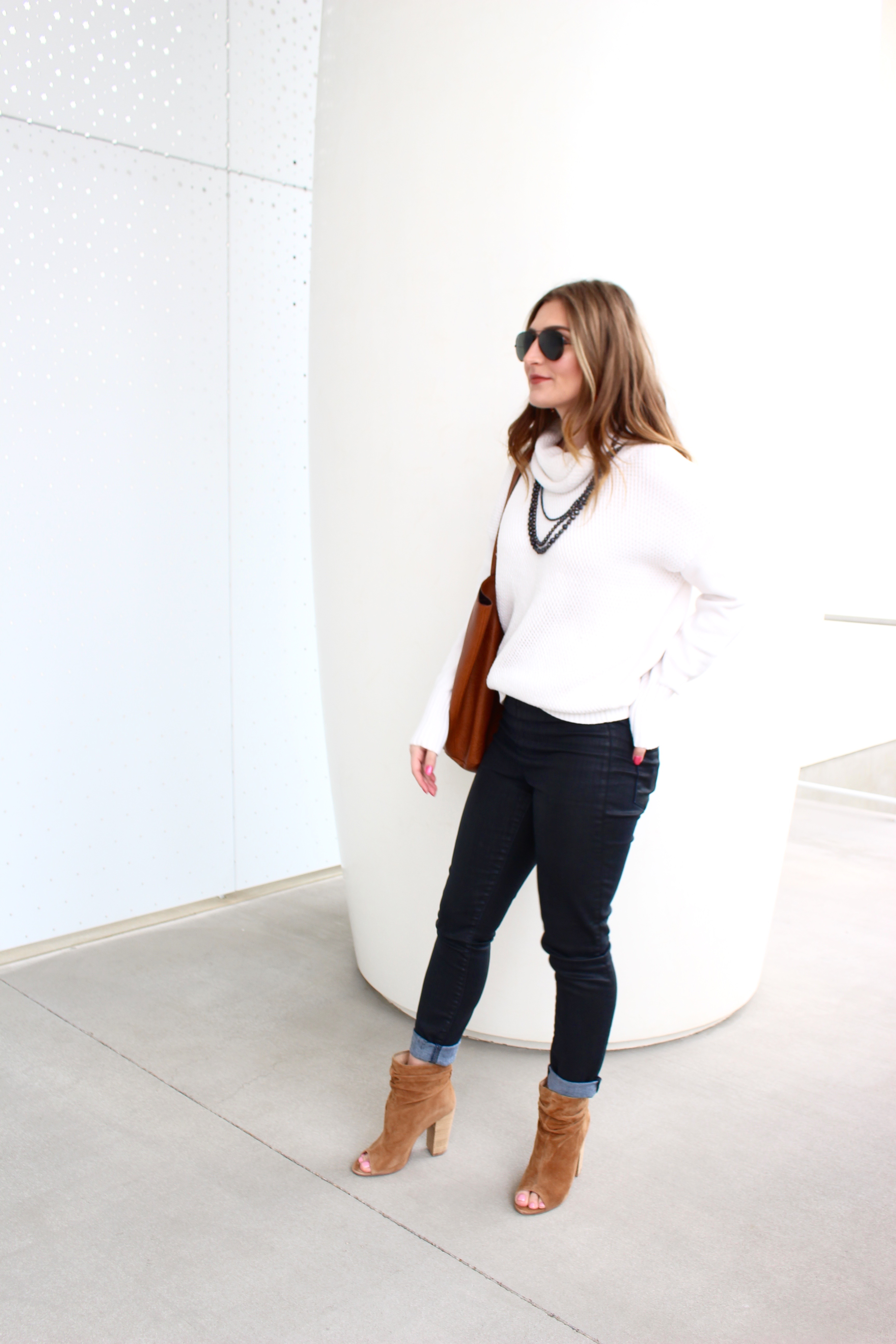 chic style in a white turtleneck