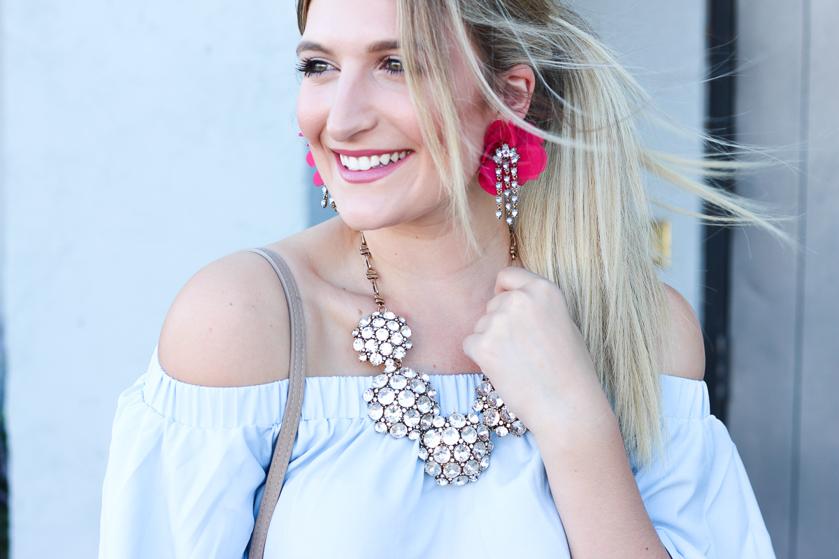 OTS Blue Top & Fall Glam Earrings | AMS Blog