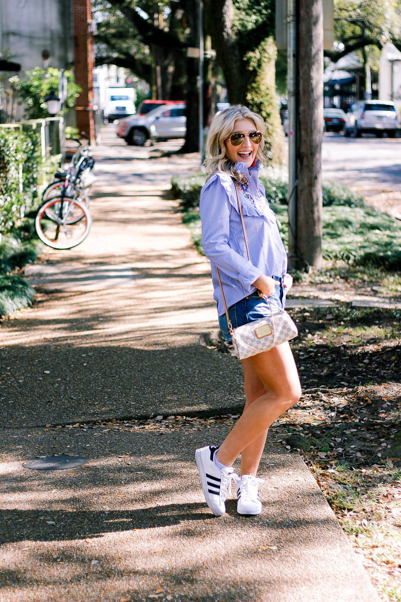 Embroidered Top For Bike Riding in Garden District by lifestyle and fashion blogger Audrey Madison Stowe