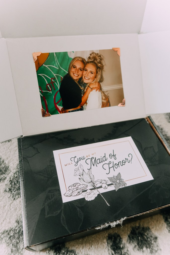 How to Ask your Bridesmaids featured by top US lifestyle blogger Audrey Madison Stowe; Bridesmaid box with photograph.