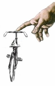 god bicycle blessing illustration