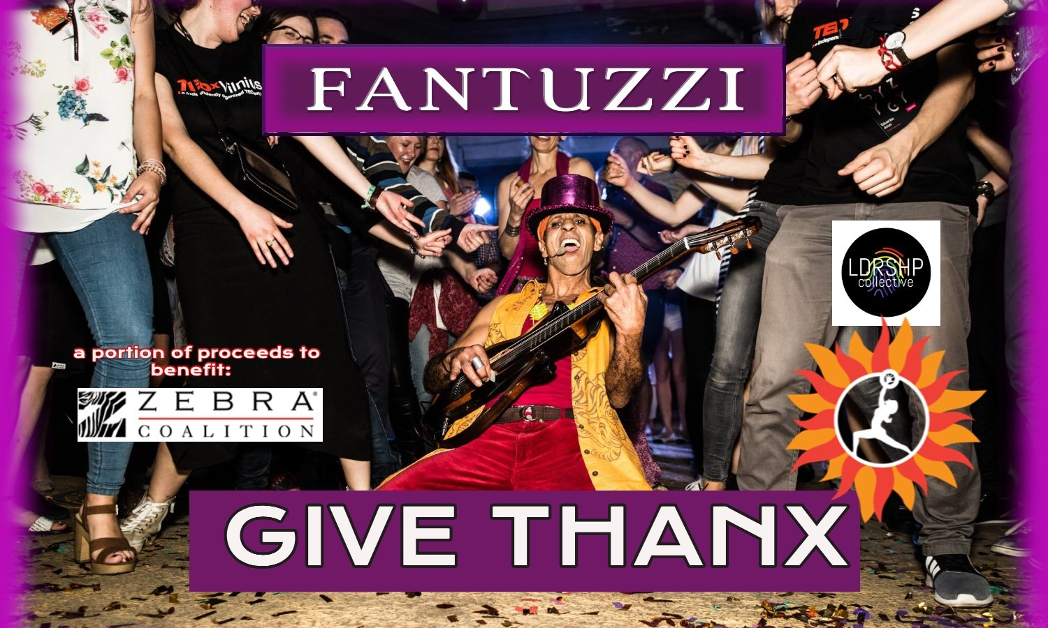 "A man playing the guitar with a crowd behind him. The text says ""Fantuzzi"" ""Give thanks"""