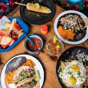 Tabletop with Mexican food dishes