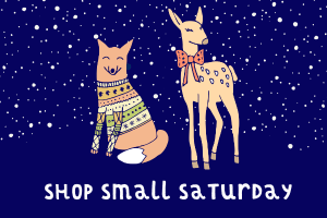 Cute fox and deer in holiday clothing for the APGD Shop Small Sip and Stroll in Orlando Florida
