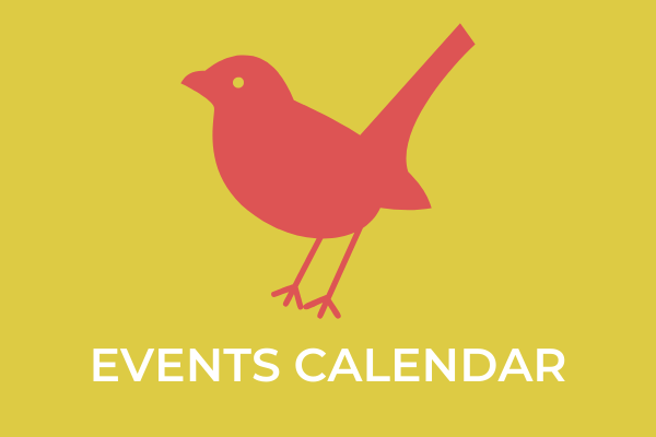 Event Calendar graphic with little bird on it.