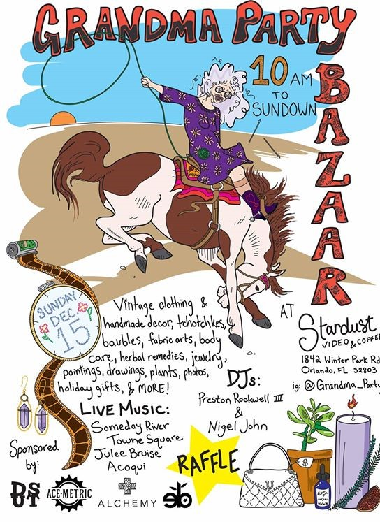 A flyer for Grandma Party Bazaar with a picture of a grandma riding a horse